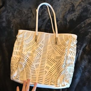 Large white beach bag with gold accents